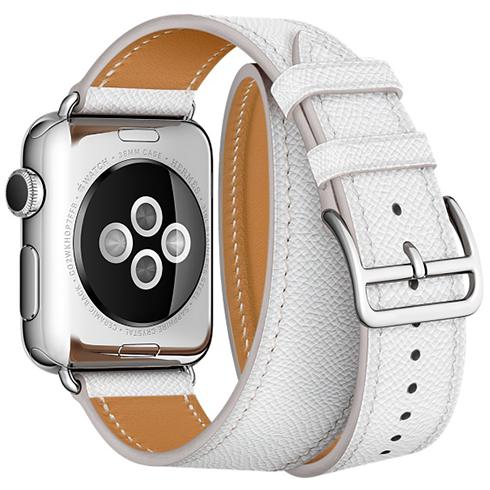 Ремешок кожаный HM Style Double Tour для Apple Watch 2 / 1 (38mm) БелыйРемешки<br>Невероятно качественные и стильные ремешки изготовлены из натуральной кожи высочайшего качества     Длинный ремешок дважды обнимает запястье, образуя стильное сочетание с часами           Аксессуар предназначен для запястья 140-160 миллиметров<br>