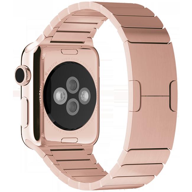 Браслет блочный для Apple Watch 2 / 1 (38мм) Розовое ЗолотоРемешки<br>Браслет блочный для Apple Watch выполнен из нержавеющей стали и состоит более чем из 100 элементов.     Аксессуар оснащен уникальной застежкой типа бабочка, аккуратно складывающейся внутри браслета.<br>