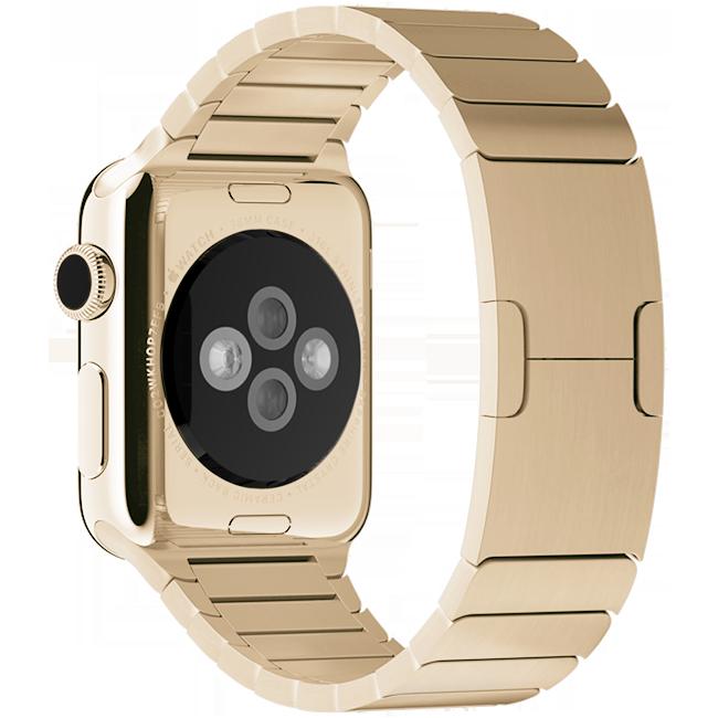 Браслет блочный для Apple Watch 2 / 1 (38мм) ЗолотоРемешки<br>Браслет блочный для Apple Watch выполнен из нержавеющей стали и состоит более чем из 100 элементов.     Аксессуар оснащен уникальной застежкой типа бабочка, аккуратно складывающейся внутри браслета.<br>
