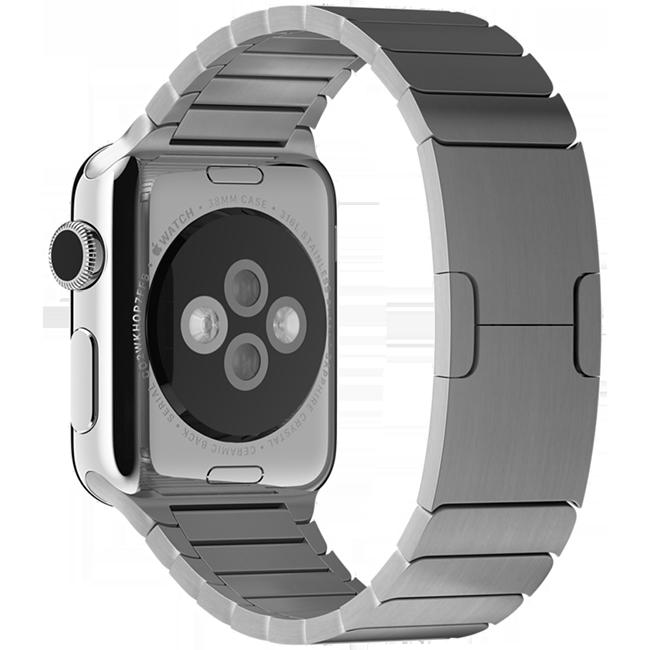 Браслет блочный для Apple Watch 2 / 1 (38мм) СереброРемешки<br>Браслет блочный для Apple Watch выполнен из нержавеющей стали и состоит более чем из 100 элементов.     Аксессуар оснащен уникальной застежкой типа бабочка, аккуратно складывающейся внутри браслета.<br>
