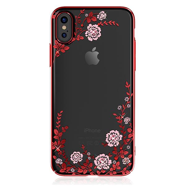 Чехол с Swarovski Kingxbar Flora Series для iPhone X RedЧехлы<br>Ультратонкая, практически невесомая накладка из прозрачного поликарбоната толщиной 0.7мм с метализированными краями и узорами         Все порты остаются доступными для использования, а кнопки нажимаются без дополнительного усилия               Аксессуар инкрустирован блистающими лицензионными кристаллами Swarowski, по качеству с которыми не может сравниться ни один конкурент<br>