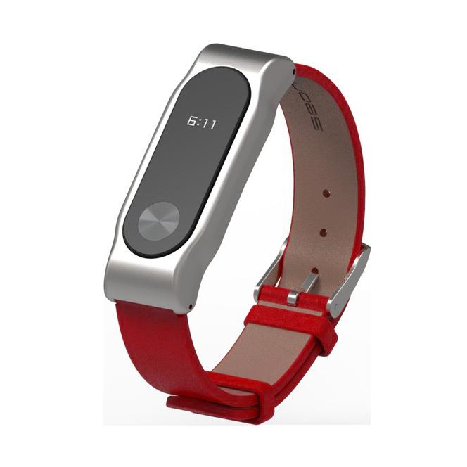 Ремешок кожаный для MiBand 2 КрасныйРемешки<br>Стильный для MiBand 2 из натуральной кожи     Фитнес трекер фиксируется одним движением руки благодаря магнитному креплению           Аксессуар подойдет на запястье 150-220мм<br>